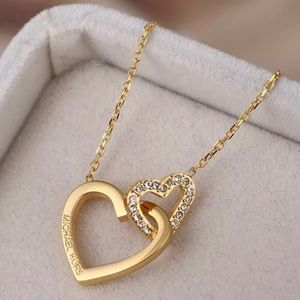 Michael Kors Double Heart Crystal  Necklace
